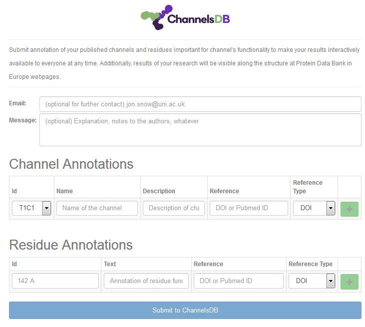 Annotation window for ChannelsDB database